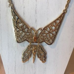 vintage articulated Butterfly necklace amber stone